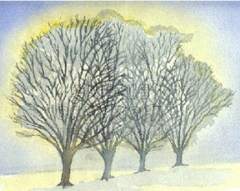 The Golden Sun Trees Watercolor Greeting Card by J. P. Haydock (Also available as a print)