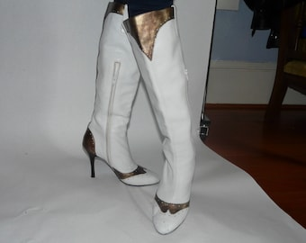Knee high, white and gold awesome rocker chick boots!  Nordstrom Preview, size 8.  These are SWEET!