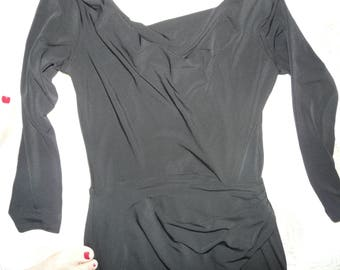 Knee Length Black Lycra Disco Dress.  Size S.