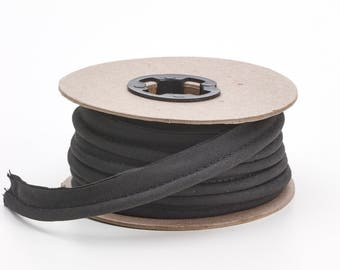 """Broadcloth cord piping, 1/2"""" Wide, 15 yds, Black"""
