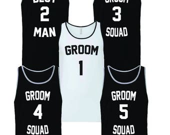 Bachelor Party Groom Squad Jersey Tank Tops