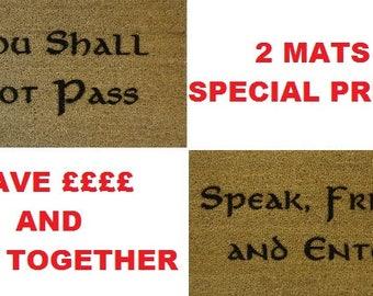 Speak Friend & Not Pass 70 x 40cm Internal Coir Door Mat, Laser Engraved from JRR Tolkien - Hobbit - Lord of The Rings - Elvish