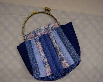 Quilted Handbag with Brass Handles