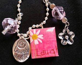 Scrabble Tile Pendant - Laugh in Pink - Scrabble Tile Necklace - Upcycled Jewelry