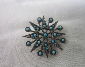 Antique Native American Silver & Turquoise Starburst Button Very nice