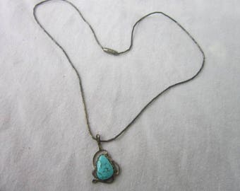 Antique Native American Artist Signed Sterling Silver & Turquoise Necklace