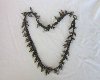 Interesting Black & Arty Color Beaded Necklace on Lace 27 Inches Long