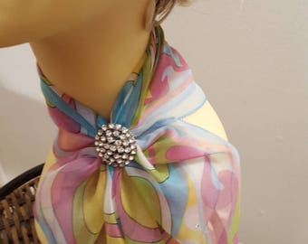 Ladies Glamour Swarovski adorned scarf & scarf clip-gift boxed- Pastals
