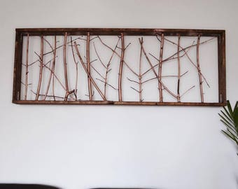 ALEJANDRA - Tree Branches Framed with Stained Wood with a Rustic Metallic Look