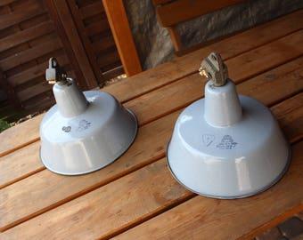 2x unkown designer - Polish light blue enamel industrial factory lights, set of two pieces