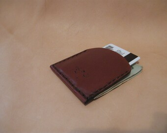 Handmade leather wallet, front pocket, bills and credit card slots