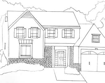 Custom Black Pen and Ink Drawing of your Home 9x12