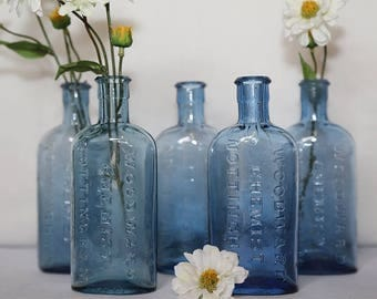 Vintage Blue Apothecary Medicine Bottle - Woodward Chemist, Nottingham
