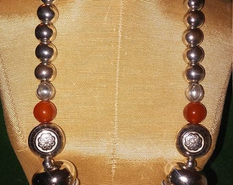 Silver and Amber handmade necklace you can't pass up. Earrings are lightweight and stylish.