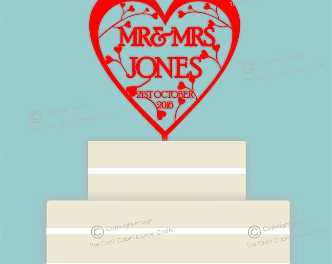 Heart & Swirls- Acrylic Personalised Cake Topper. Vintage Weddings
