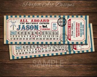 Train Birthday Invitation Card Ticket Printable Digital DIY Vintage Cute Choo choo Rail Road 1081