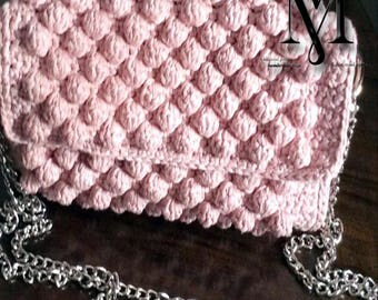 Handmade, knitted, bubble bag, pink color