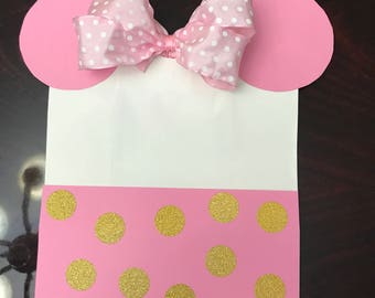 Pink and Gold Minnie Themed Favor Bag