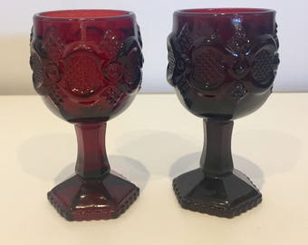 Avon Cape Cod Ruby Red Goblets 2 pc Set, Vintage Glass, 1876 Collection
