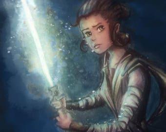 Rey Star Wars watercolor