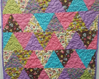 Owl Triangles baby quilt-purple