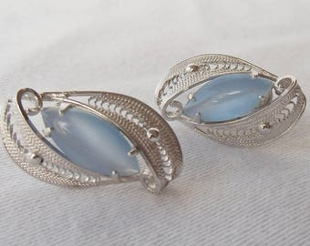 Fine Old New Stock Sterling Silver Filigree Blue Moonstone Glass Screw Back Earrings - Marked Sorrento