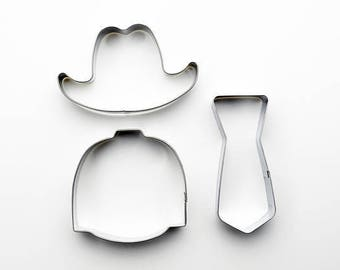 3pcs/Set Gentleman Cookie Cutter - Hat/ Suit/ Tie - Fondant Biscuit Mold - Pastry Baking Tool Set