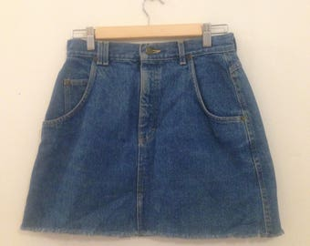 Lee Blue Denim Skirt w/ Raw Hem, Size 10