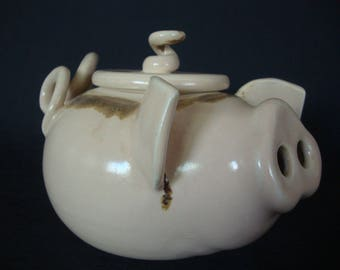Glazed Stoneware Ceramic Pig-Shaped Teapot