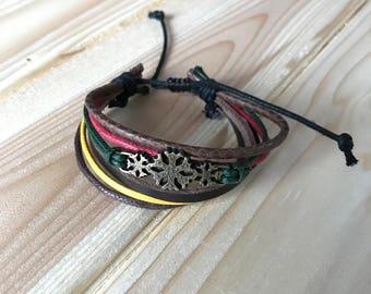 Snowflake Leather Bracelet