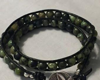 Double Wrapped Black Leather Beaded Bracelet with Silver Flower Button
