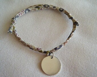 Bracelet medal in silver cord LIBERTY