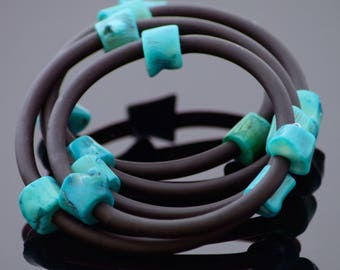 Rubber Turquoise Bracelet LACERTA - Unique gift for any occasion | Elegant and Modern Piece