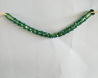 Emerald green May birthstone and Jet ab Swarovski Crystal woven bracelet. Great for May birthday.