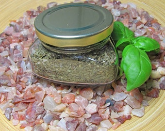 Basil salt in the triangle glass