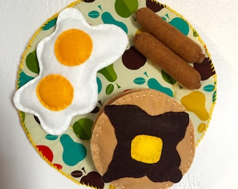 Plushie Breakfast Plate with Eggs, Pancakes, and Sausage on Apple Print Plate
