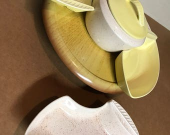 California Pottery Chip and Dip Tray on a Wooden Lazy Susan