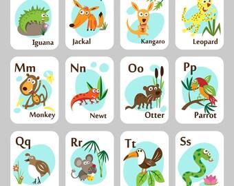 ALPHABET CARDS, PRINTABLE alphabet, Alphabet flash cards, abc cards,alphabet art prints, letter wall art, kids art, kids cards,kids room