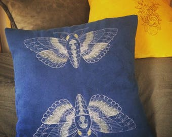 Embroidered Deaths Head Moth cushion