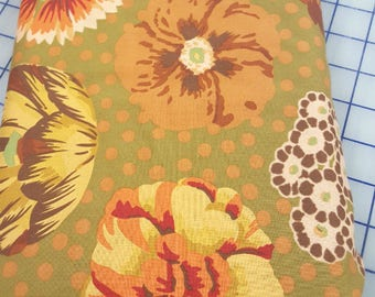 Fabric Cotton Kaffee Fassett Quilting Sewing Crafting Quality Collective Green Brown Rust Orange Gold Polka Dots Floral