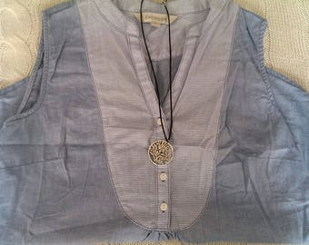 Emerson denim coloured sleeveless blouse
