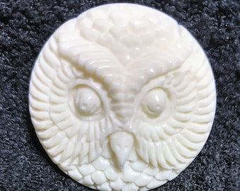 Hand Carved Owl Head Cabochon - Buffalo Bone