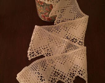 Cotton Crochet Lace with Heart Motif