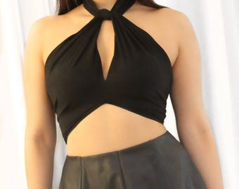 Crop top with cut out jersey in black playful