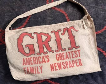 Vintage GRIT Canvas Newspaper Bag 1950-1960s