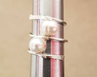 2 Fresh Water Pearls, Ring