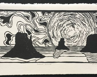 Tequila Sunrise - Groovy Black and White Linocut Print