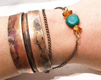 Copper Folded Bracelet with Turquoise and Amber Stones