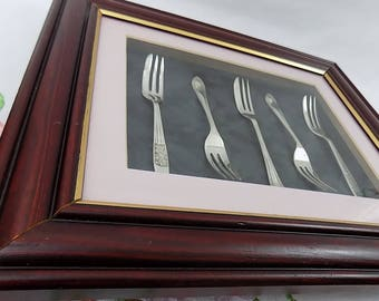 Victoria - Vintage Shabby Chic Framed Silver Plated Cake Forks