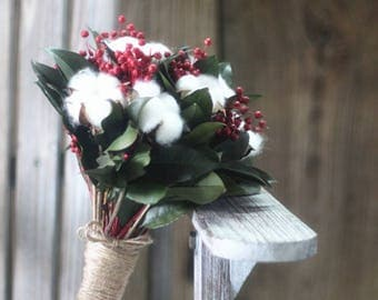 Natural Rustic Style Wedding Bridal Handhold Flower,Dried Cotton Boll Stem,Preserved Leaves